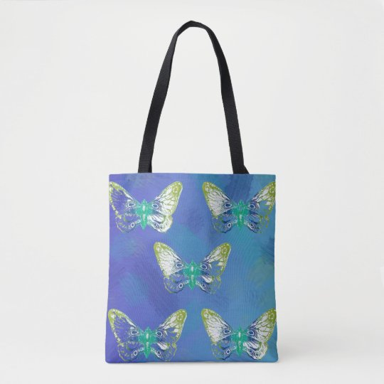 Blue Stamp Butterfly Design Tote Bag