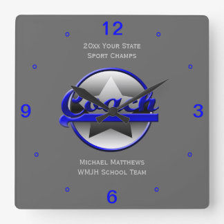Blue Star Coach Name and School Square Clock