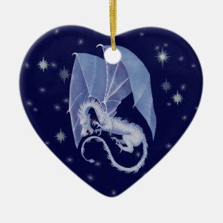 Blue Star Dragon Ceramic Heart Ornament