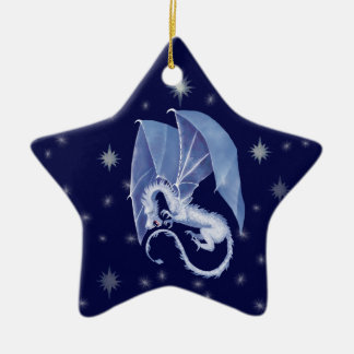 Blue Star Dragon Ceramic Star Ornament