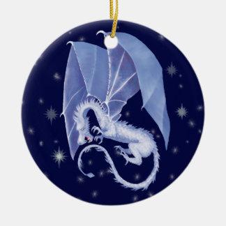 Blue Star Dragon Round Ceramic Ornament