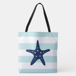 Blue Star Fish on Mint Stripes Tote Bag