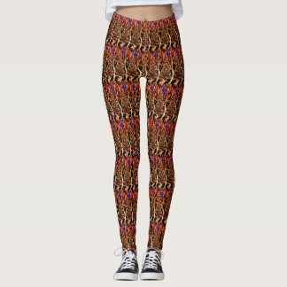 Blue Star Gold Tree Pattern Leggings