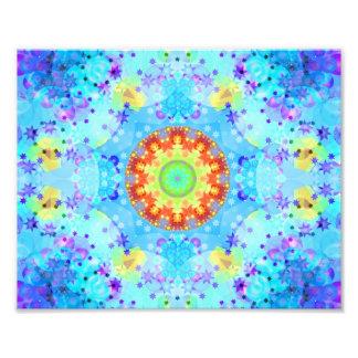 Blue Star Hippy Mandala Patterned Photograph