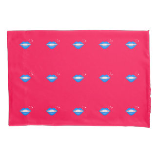 Blue star kiss lips pink pillowcases