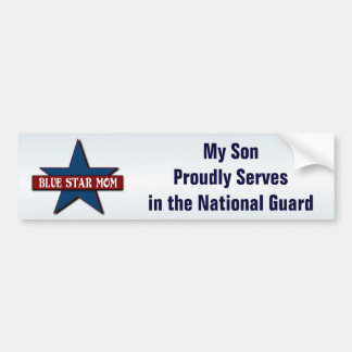 Blue Star Mom with Son in National Guard Military Bumper Sticker
