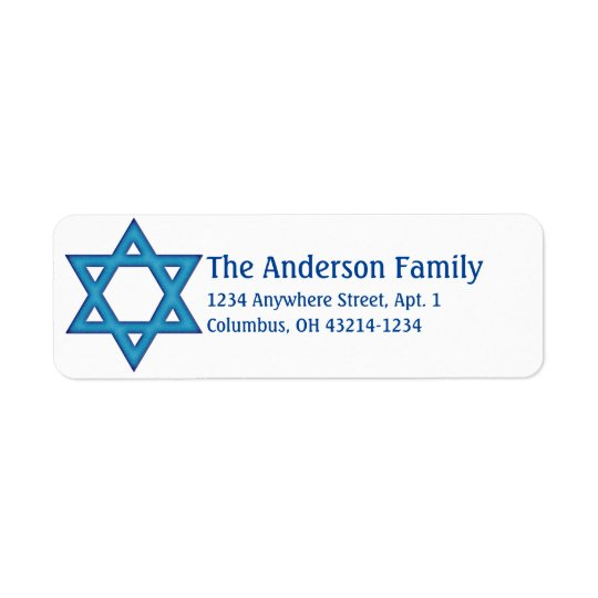 Blue Star of David Hanukkah Address Labels d2