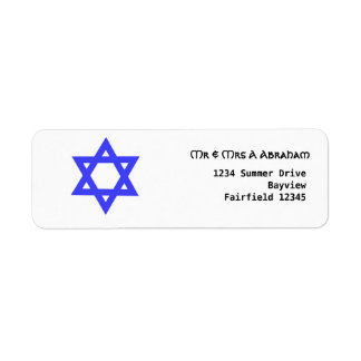Blue Star of David Jewish Return Address Label