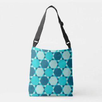 Blue Star of David Optical Illusion Pattern Crossbody Bag