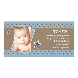 Blue Star Photo Birth Announcement Personalized Photo Card