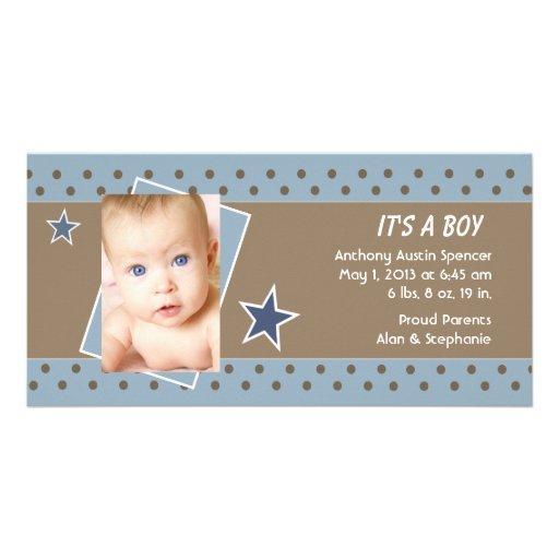 Blue Star Photo Birth Announcement Photo Greeting Card