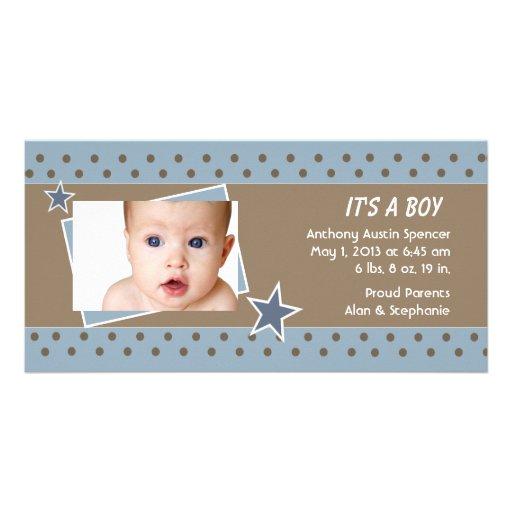 Blue Star Photo Birth Announcement Photo Card