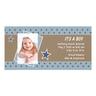 Blue Star Photo Birth Announcement Picture Card