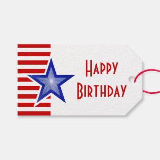 Blue Star Red Stripe print Happy Birthday Pack Of Gift Tags