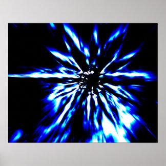 Blue starburst on black poster