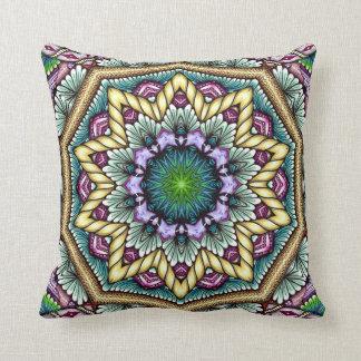 blue starbust zen-doodle throw pillow
