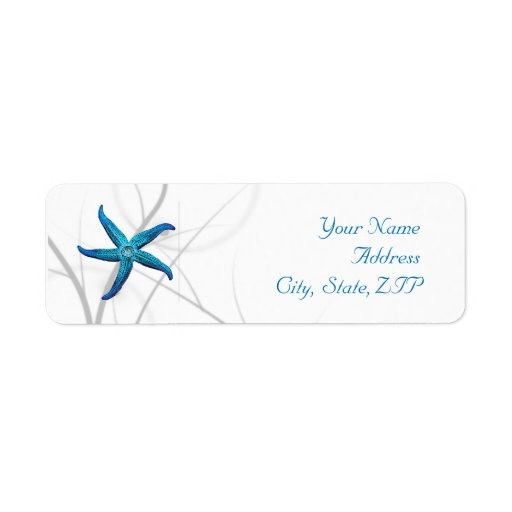 Blue Starfish and Silver Coral Return Address Return Address Labels