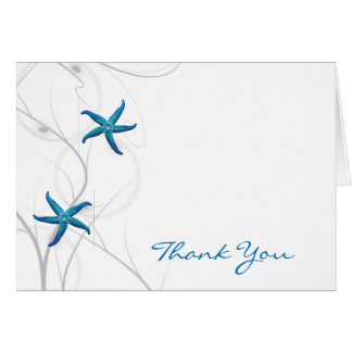 Blue Starfish and Silver Coral Thank You Card