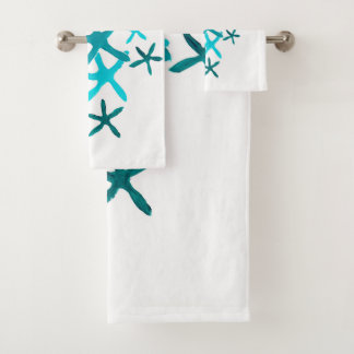 Blue Starfish Bath Towel Set