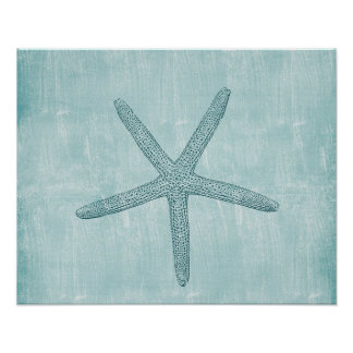 Blue Starfish beach sea nautical ocean Poster
