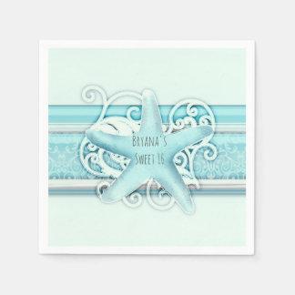 Blue Starfish Beach Wedding Reception Party Disposable Napkin