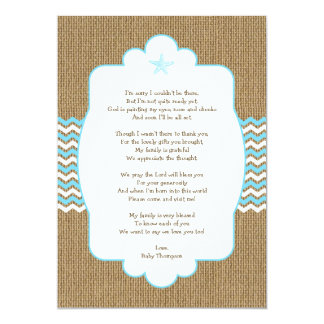 Blue Starfish boy baby shower thank you notes Card