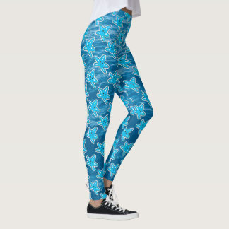 Blue Starfish Cartoon Leggings