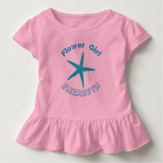Blue Starfish Pink Beach Wedding Flower Girl Toddler T-shirt
