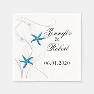 Blue Starfish with Silver Coral Wedding Napkin Disposable Napkin