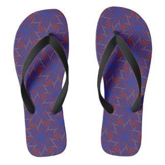 Blue starflowers on red flip flops