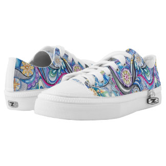 Blue starry abstract design tennis shoes.  unisex. Low-Top sneakers