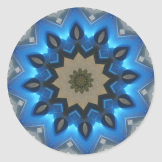 Blue Starry Kaleidoscope Round Sticker
