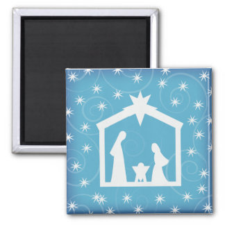 Blue Starry Night Christmas Nativity Magnet