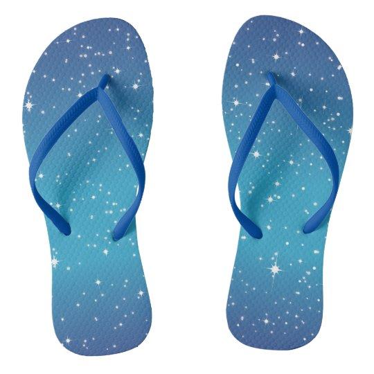 Blue Starry Night Flip Flops