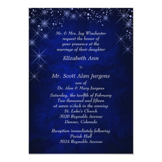 Blue Starry Night Formal Wedding 5x7 Paper Invitation Card