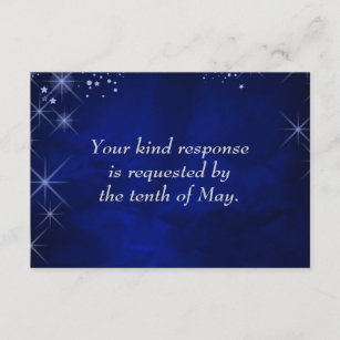 Blue Starry Night Formal Wedding RSVP Card