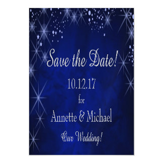 Blue Starry Night Save the Date Wedding Magnetic Invitations