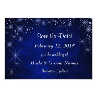 "Blue Starry Night Wedding Save the Date 3.5"" X 5"" Invitation Card"