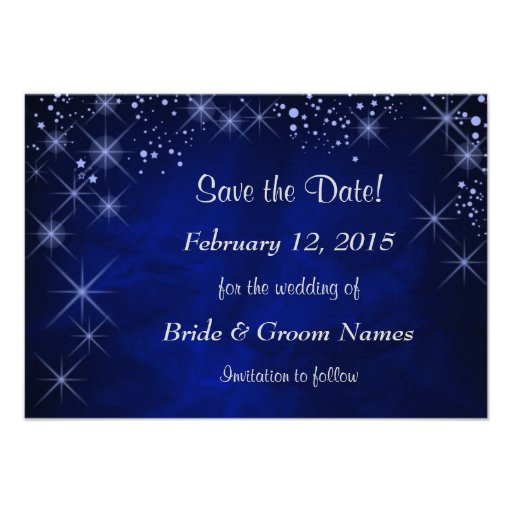 Blue Starry Night Wedding Save the Date Personalized Invitations