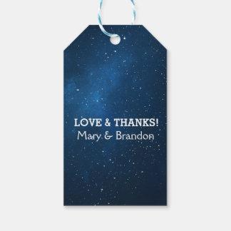 Blue Starry Universe Nebula Wedding Gift Tags