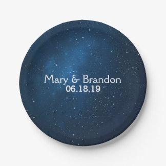 Blue Starry Universe Nebula Wedding Paper Plate