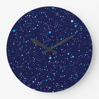 Blue Stars 2 Large Clock