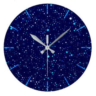 Blue Stars 2 Large Clock