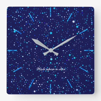Blue Stars 2 Square Wall Clock