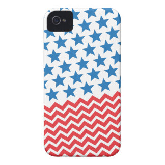 Blue stars and red white chevron zigzag stripes iPhone 4 Case-Mate case
