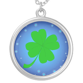 Blue Stars Four Leaf Clover Necklace