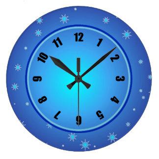 Blue Stars Large Clock