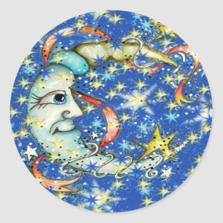 Blue Stars Sun and Moon Design Classic Round Sticker