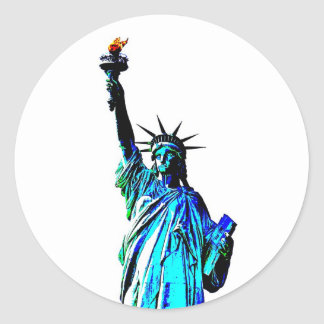 Blue Statue of Lady Liberty Classic Round Sticker