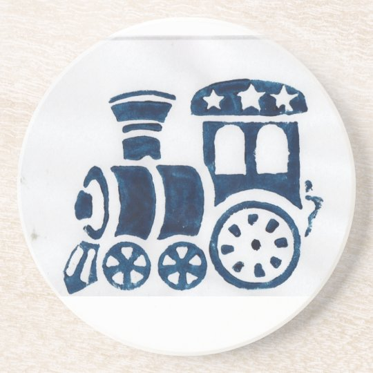 Blue steam train coaster